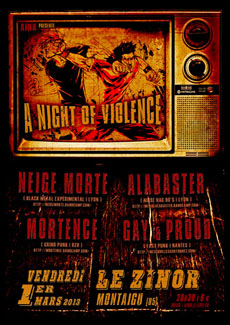 Vendredi 1er Mars :  A Night of Violence - Neige Morte, Alabaster, Mortence, Gay and Proud