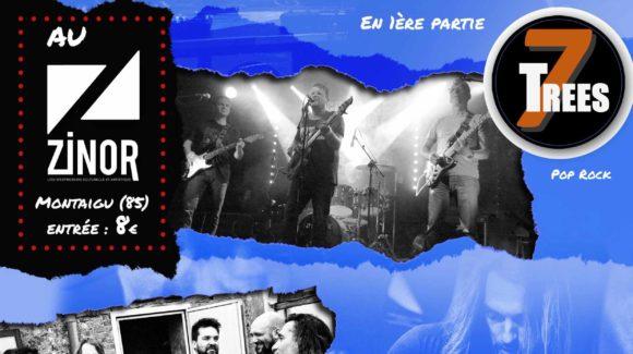 Affiche concert rock au Zinor Montaigu avec 7Tress et Fenris