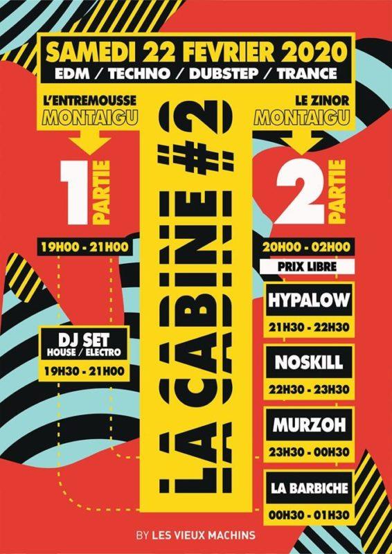 Affiche La Cabine 2 soirée electro le zinor montaigu vendée