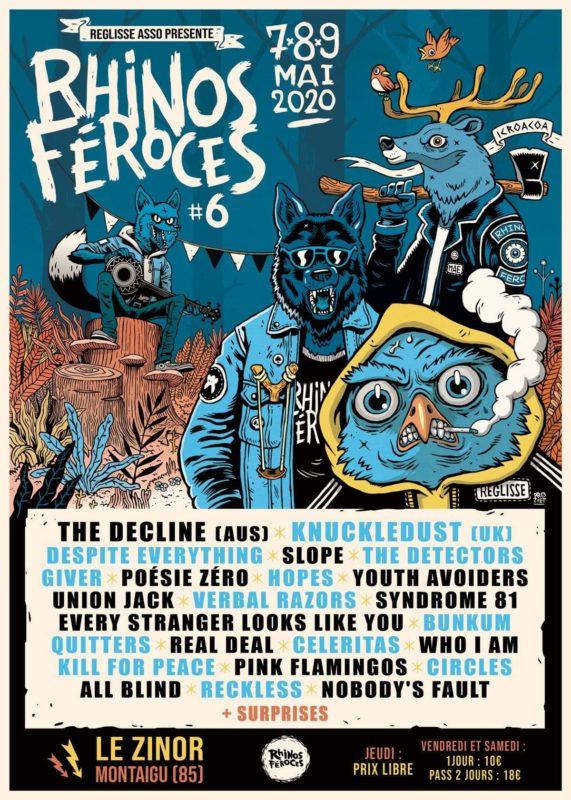 Affiche Les Rhinos Féroces 6 festival punkrock hardcore au zinor montaigu vendée