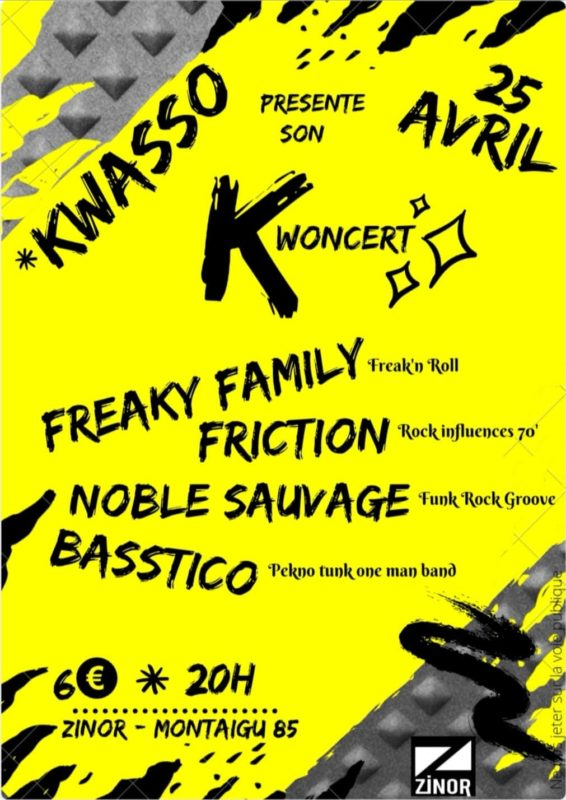 kwoncert ; zinor ; le zinor ; concert ; concert rock ; punk ; freaky family ; friction ; noble sauvage ; basstico ; vendée ; montaigu ; nantes ; 25 avril